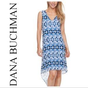 w/TAGs CHIFFON High-Low V- Neck Blue White DRESS